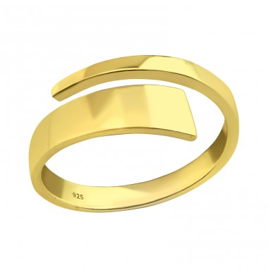 Flat open gold plated - 925 Sterling Silver Basic Rings A4S40269