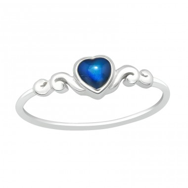 Blue Heart - 925 Sterling Silver Basic Rings A4S40432