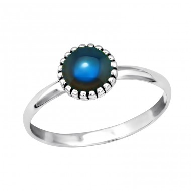 Silver Round Ring With Mood Color Epoxy - 925 Sterling Silver Basic Rings A4S40662