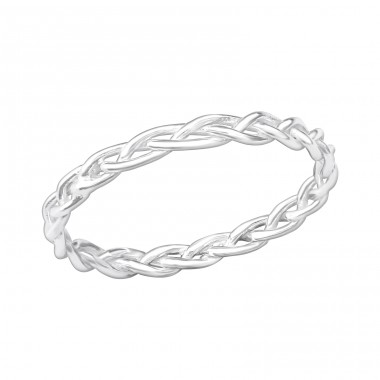 Silver Braided Ring - 925 Sterling Silver Basic Rings A4S40664