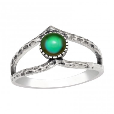 Oxidized ring with green epoxy - 925 Sterling Silver Basic Rings A4S41645