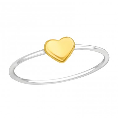 Silver ring with golden Heart - 925 Sterling Silver Basic Rings A4S42199