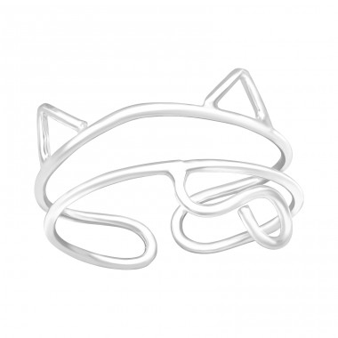 Cat - 925 Sterling Silver Basic Rings A4S42222