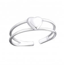 3D Heart - 925 Sterling Silver Toe Rings A4S19402