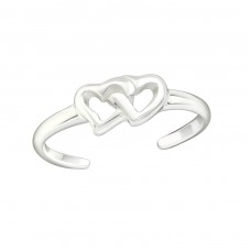 Double Heart - 925 Sterling Silver Toe Rings A4S21054