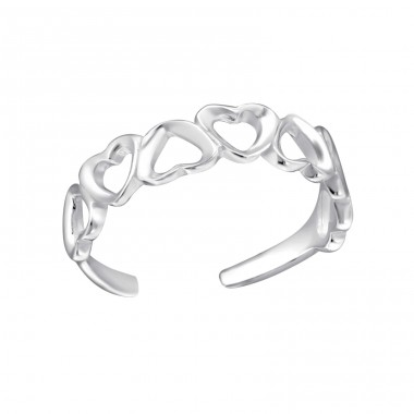 Hearts - 925 Sterling Silver Toe Rings A4S21057