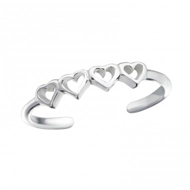 Hearts - 925 Sterling Silver Toe Rings A4S21504