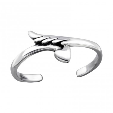Feather And Heart - 925 Sterling Silver Toe Rings A4S27182