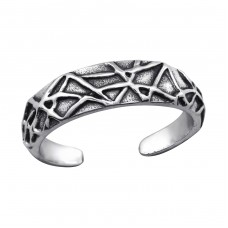 Patterned - 925 Sterling Silver Toe Rings A4S27631