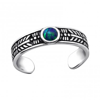 Round Opal - 925 Sterling Silver Toe Rings A4S27715
