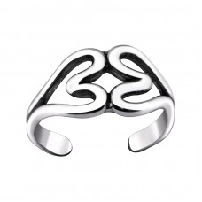 Double Heart - 925 Sterling Silver Toe Rings A4S29407