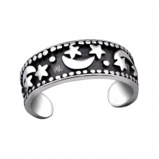 Moon And Star - 925 Sterling Silver Toe Rings A4S29408