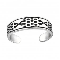 Patterned - 925 Sterling Silver Toe Rings A4S32307