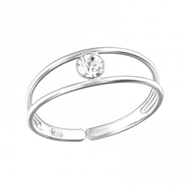 Single Stone - 925 Sterling Silver Toe Rings A4S32462