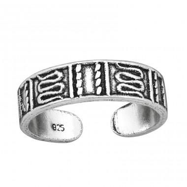 Patterned - 925 Sterling Silver Toe Rings A4S38966