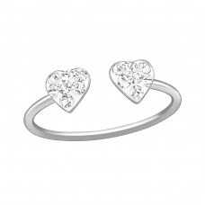 Double Heart - 925 Sterling Silver Toe Rings A4S39444