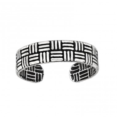Rattan Inspired - 925 Sterling Silver Toe Rings A4S43006