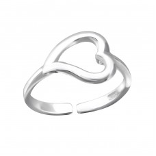 Curved Heart - 925 Sterling Silver Toe Rings A4S4337