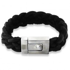 Fat - Leather Cord + 316L Surgical Grade Stainless Steel Steel Bracelets for Men A4S1089