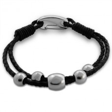 Beaded - 316L Surgical Grade Stainless Steel + Leather Cord Steel Bracelets for Men A4S13677