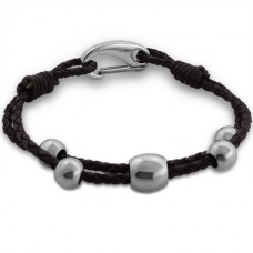 Beaded - Leather Cord + 316L Surgical Grade Stainless Steel Steel Bracelets for Men A4S13678