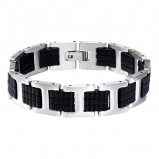 Handcuff - 316L Surgical Grade Stainless Steel + Rubber Steel Bracelets for Men A4S15206