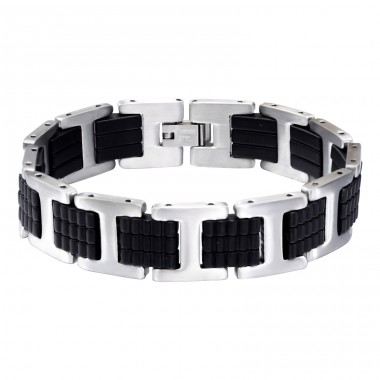 Handcuff - Rubber + 316L Surgical Grade Stainless Steel Steel Bracelets for Men A4S15206