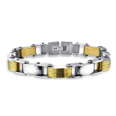 Chain - Rubber + 316L Surgical Grade Stainless Steel Steel Bracelets for Men A4S1873