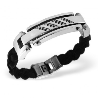 Tag - Leather Cord + 316L Surgical Grade Stainless Steel Steel Bracelets for Men A4S1884