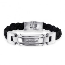 White Crystal Cross - 316L Surgical Grade Stainless Steel + Leather Cord Steel Bracelets for Men A4S1885