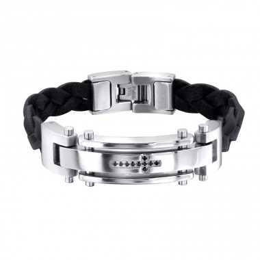 Tag - Leather Cord + 316L Surgical Grade Stainless Steel Steel Bracelets for Men A4S1886