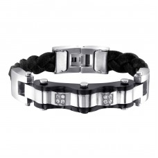 Tag - Leather Cord + 316L Surgical Grade Stainless Steel Steel Bracelets for Men A4S1887