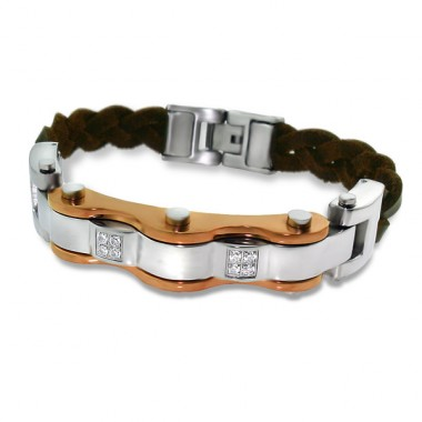 Combined - Leather Cord + 316L Surgical Grade Stainless Steel Steel Bracelets for Men A4S1888