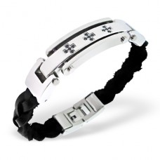 Tag - Leather Cord + 316L Surgical Grade Stainless Steel Steel Bracelets for Men A4S1892
