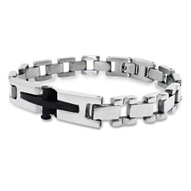 Cross - 316L Surgical Grade Stainless Steel Steel Bracelets for Men A4S1898