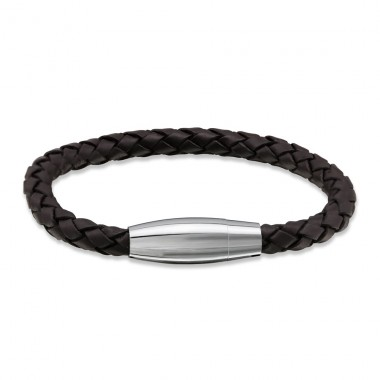 Round - Leather Cord + 316L Surgical Grade Stainless Steel Steel Bracelets for Men A4S28811