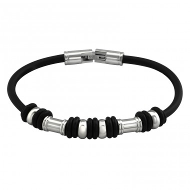Round - 316L Surgical Grade Stainless Steel + Rubber Steel Bracelets for Men A4S37732