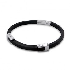 Bangle - Rubber + 316L Surgical Grade Stainless Steel Steel Bracelets for Men A4S5513
