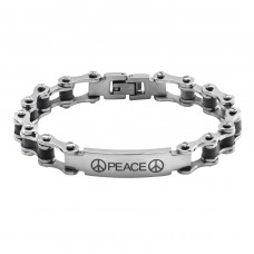 Bicycle Chain - Rubber + 316L Surgical Grade Stainless Steel Steel Bracelets for Men A4S6212