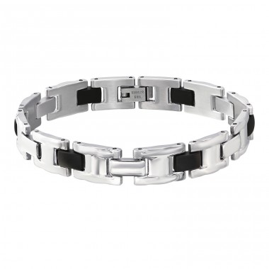 Bangle - 316L Surgical Grade Stainless Steel + Rubber Steel Bracelets for Men A4S6213