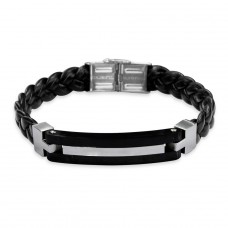 Combined - 316L Surgical Grade Stainless Steel + Leather Cord Steel Bracelets for Men A4S8076