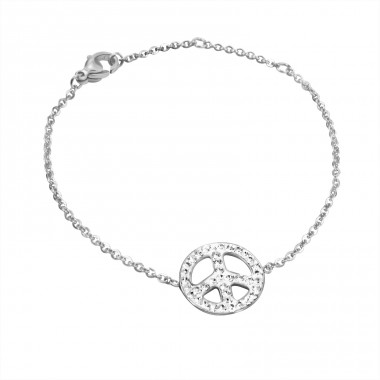 Peace Sign - 316L Surgical Grade Stainless Steel Steel Bracelets for Women A4S15086