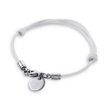 Disk - 316L Surgical Grade Stainless Steel + Leather Cord Steel Bracelets for Women A4S16957
