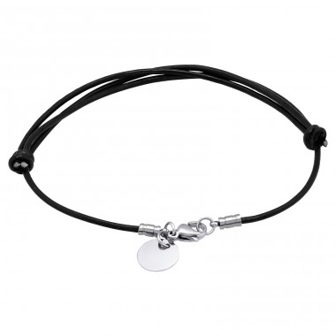 Disk - 316L Surgical Grade Stainless Steel + Leather Cord Steel Bracelets for Women A4S16961