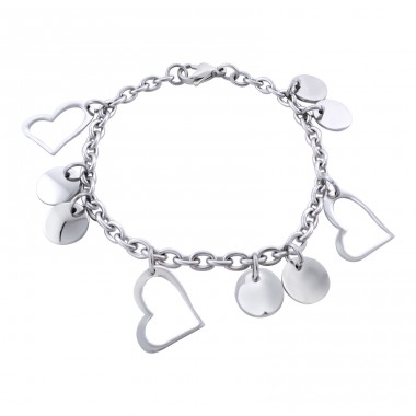 Heart - 316L Surgical Grade Stainless Steel Steel Bracelets for Women A4S19592