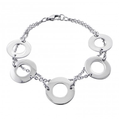 Round - 316L Surgical Grade Stainless Steel Steel Bracelets for Women A4S19593
