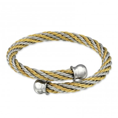 2 Tone Twisted - 316L Surgical Grade Stainless Steel Steel Bracelets for Women A4S31821