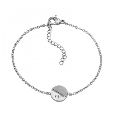 Disc - Cubic Zirconia + 316L Surgical Grade Stainless Steel Steel Bracelets for Women A4S31894