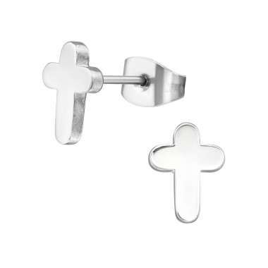 Cross - 316L Surgical Grade Stainless Steel Steel Ear Studs A4S1272