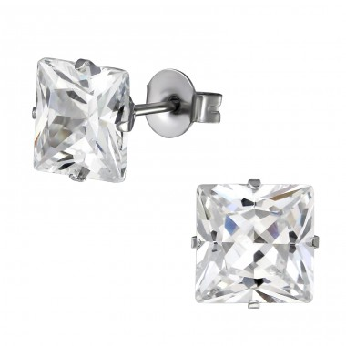 Square - 316L Surgical Grade Stainless Steel Steel Ear Studs A4S1294